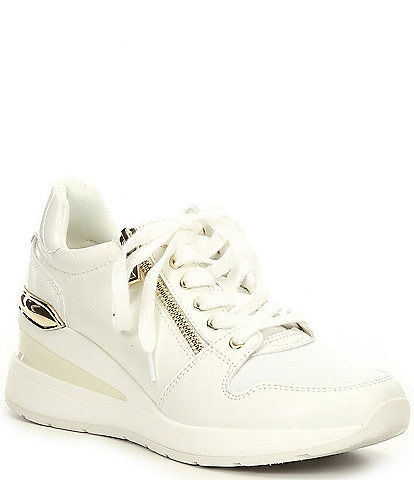 ALDO Adwiwia Croc-Embossed Lace-Up Wedge Sneakers