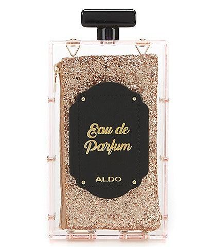 ALDO Bouck Glitter Perfume Bottle Novelty Clutch