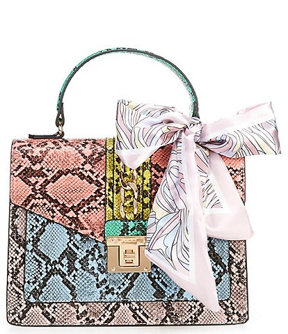ALDO Glenda Top Handle Multi-Color Snake Print Chain Scarf Satchel Bag