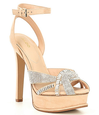 ALDO Laclabling Rhinestone Embellished Ankle Strap Platform Dress Sandals