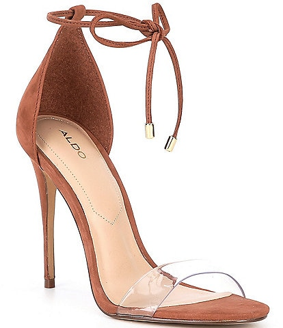 ALDO Vaycia Suede Ankle Tie Clear Strap Dress Sandals