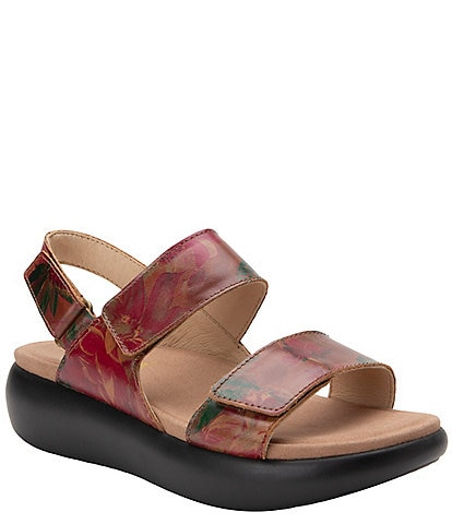 Alegria Bailee Southwestern Romance Printed Leather Adjustable Heel Strap Wedge Sandals
