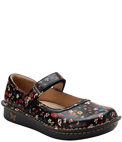 Alegria Belle Floral Printed Leather Mary Janes