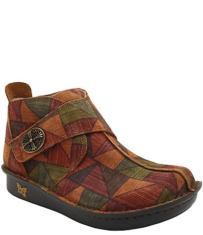 Alegria Caiti Patchwork Print Suede Ankle Boots