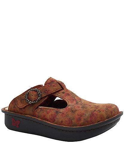 Alegria Classic Cognac And Roses Print Leather Clogs