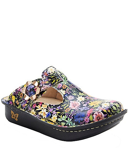 Alegria Classic Floral Print Leather Clogs