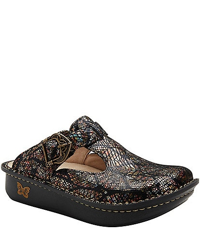 Alegria Classic Leafer Printed Leather Clogs