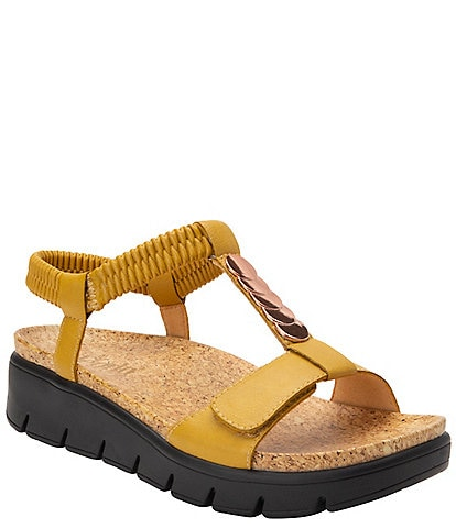 Alegria Harlie T-Strap Ankle Strap Platform Wedge Sandals