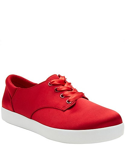 Alegria Poly Satin Lace-Up Oxford Sneakers