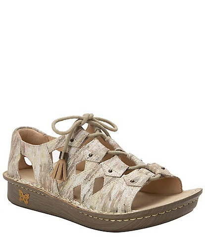 Alegria Valerie Printed Leather Open Toe Lace-Up Fisherman Sandals