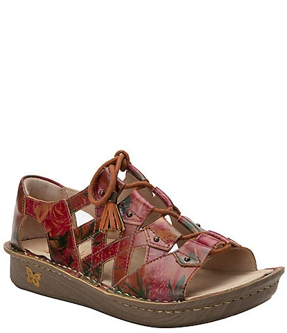 Alegria Valerie Southwest Romance Printed Leather Open Toe Lace-Up Fisherman Sandals