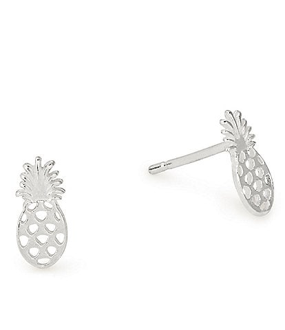Alex and Ani Sterling Silver Pineapple Stud Earrings
