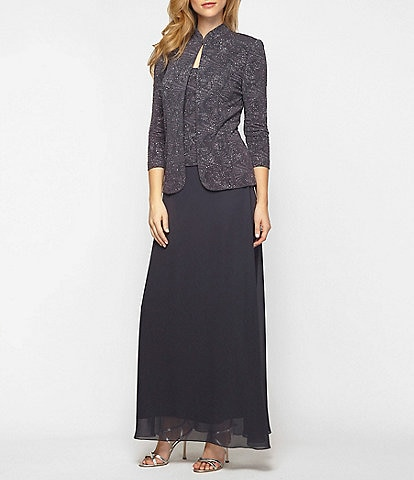 Alex Evenings 2-Piece Glitter Embellished Jacquard Jacket Dress