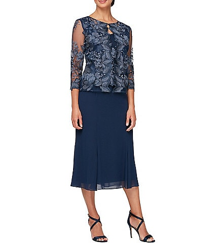 Alex Evenings 3/4 Sleeve Embroidered Lace Midi One Piece Faux Jacket Dress
