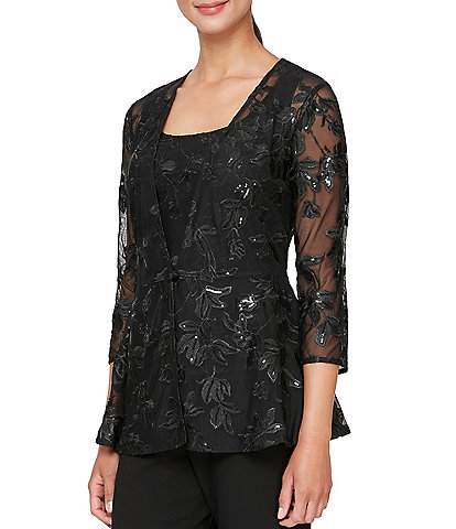 Alex Evenings 3/4 Sleeve Embroidered Scoop Neck Twinset Top