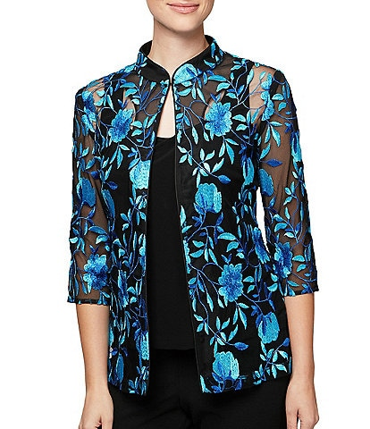 Alex Evenings 3/4 Sleeve Floral Embroidered Twinset