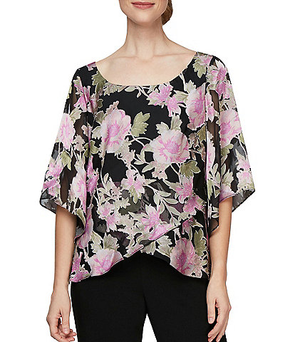Alex Evenings 3/4 Sleeve Floral Burnout Chiffon Scoop Neck Blouse