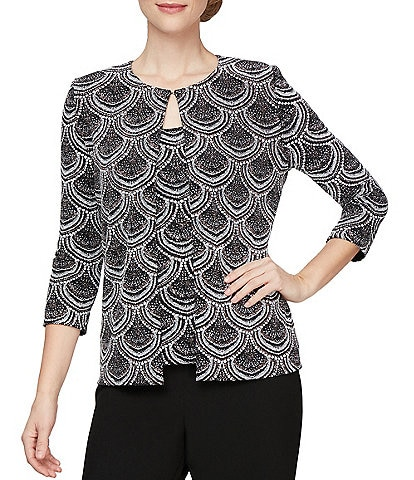 Alex Evenings 3/4 Sleeve Printed Metallic Glitter Knit Twinset