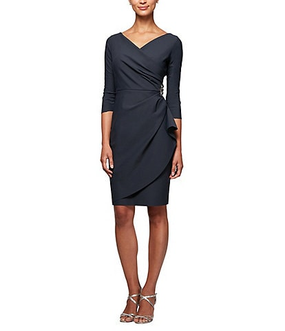 Alex Evenings 3/4 Sleeve Ruffle Beaded Hip Detail Scuba Compression Sheath Dress