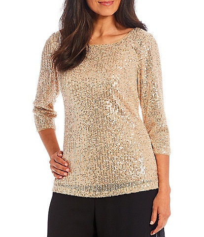 Alex Evenings 3/4 Sleeve Round Neck Keyhole Back Sequin Embroidered Tunic