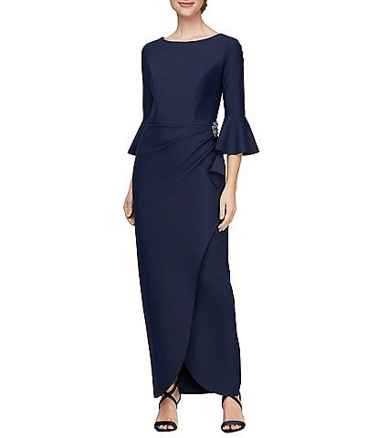 Alex Evenings 3/4 Sleeve Scuba Tulip Skirt Sheath Dress