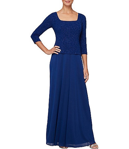 Alex Evenings 3/4 Sleeve Stretch Glitter Jacquard Knit Gown