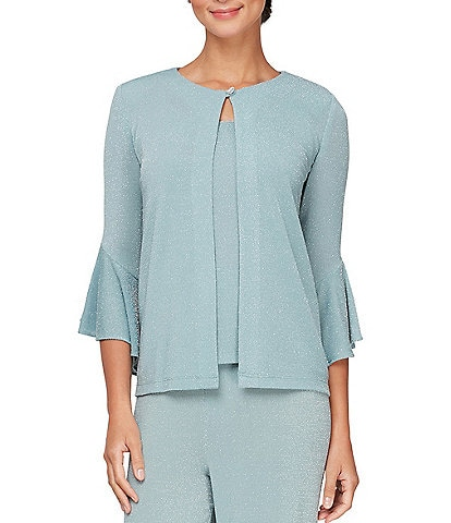 Alex Evenings 3/4 Sleeve Stretch Metallic Knit 2-Piece Twinset