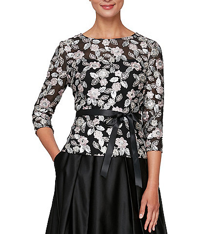 Alex Evenings 3/4 Sleeve Round Neck Tulle Floral Embroidered Self-Tie Waist Sequin Blouse