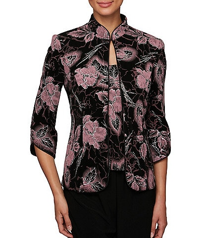 Alex Evenings 3/4 Tulip Sleeve Printed Mandarin Collar Twinset