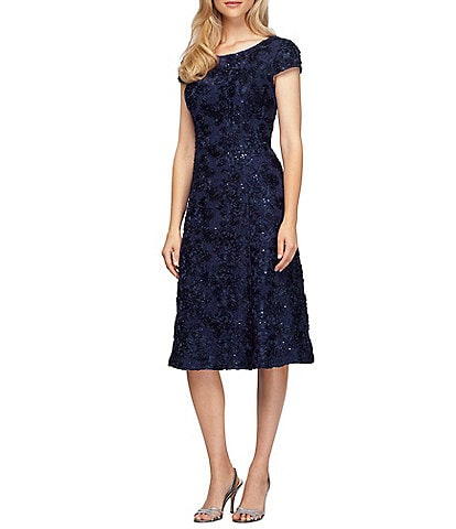 fd7c7f5ec7a Alex Evenings A-Line Rosette Midi Dress
