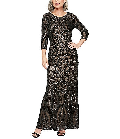 Alex Evenings Baroque Inspired Sequin V Back Gown
