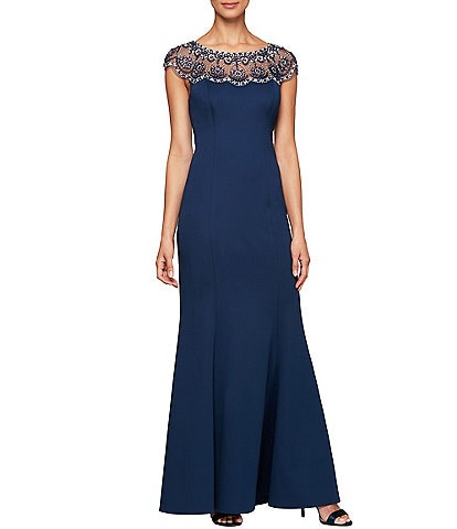 Alex Evenings Beaded Illusion Neckline Cap Sleeve A-Line Crepe Gown