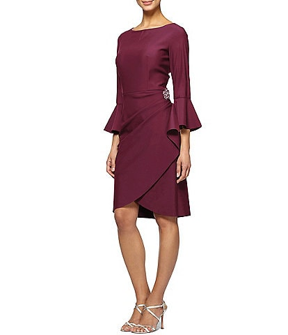 Alex Evenings 3/4 Bell Sleeve Compression Scuba Crepe Sheath Dress