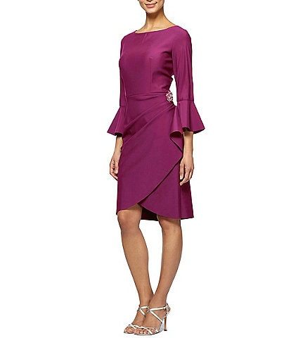 4116c0dedb5 Alex Evenings Bell-Sleeve Stretch Jersey Sheath Dress