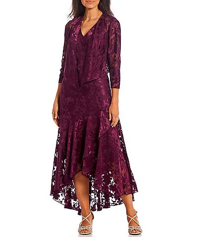 Alex Evenings Burnout Chiffon V-Neck 3/4 Sleeve High-Low 2-Piece Jacket Dress