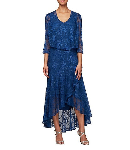 Alex Evenings Burnout Lace Tulip Hem Cascade Jacket Dress