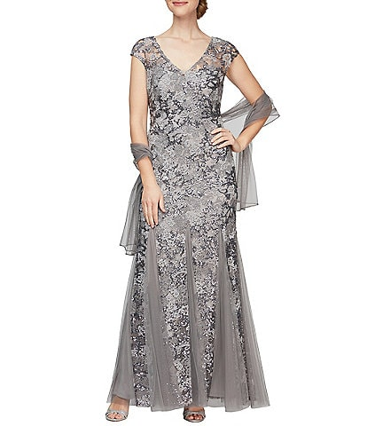 Alex Evenings Illusion Cap Sleeve Embroidered Lace Godet Gown