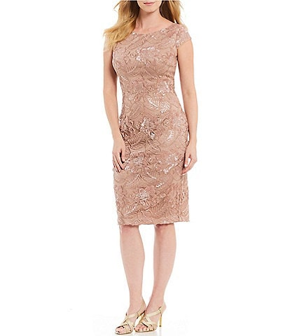 Alex Evenings Cap Sleeve Embroidered Lace Sequin Sheath Dress
