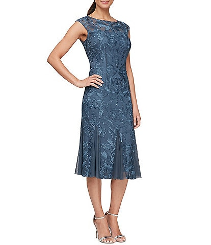 Alex Evenings Cap Sleeve Jewel Neck Stretch Sequin Fit-and-Flare Dress