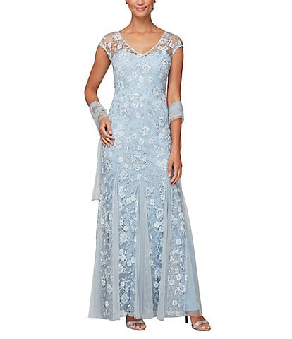 Alex Evenings Cap Sleeve V-Neck Embroidered Floral Gown