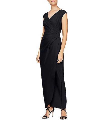 Alex Evenings Cap Sleeve V-Neck Stretch Compression Ruffle Front Dress