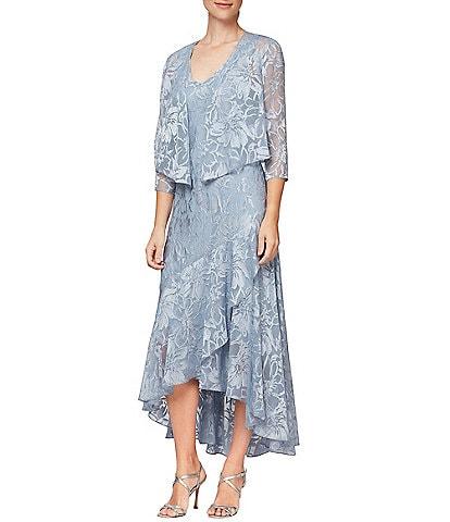 Alex Evenings Chiffon Metallic Floral Print Hi-Low Flounce Hem Cascade 2-Piece Jacket Dress