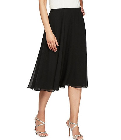 Alex Evenings Chiffon Pull-On Midi Skirt