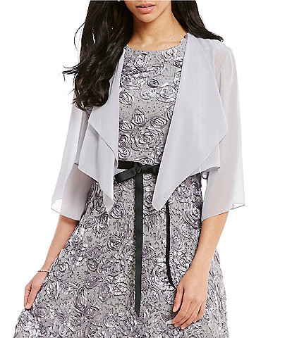 Alex Evenings Chiffon Split-Sleeve Bolero Jacket