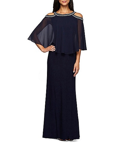 Alex Evenings Cold-Shoulder Bead-Trim Stretch Popover Gown