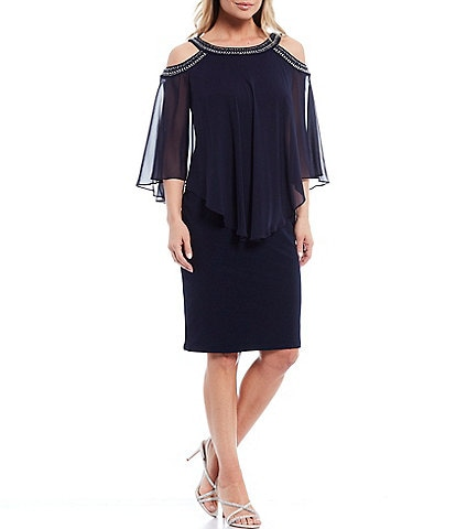 Alex Evenings Cold Shoulder Chiffon Beaded Popover Matte Jersey Dress