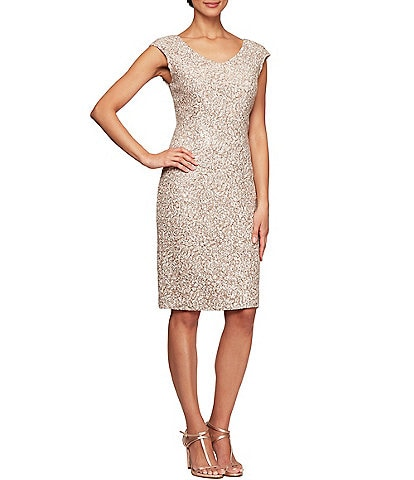 Alex Evenings Corded Lace Cap Sleeve V-Neck Sheath Dress