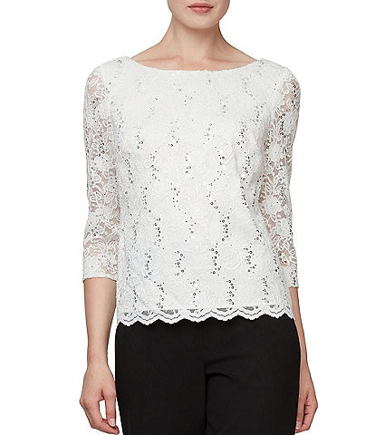 Alex Evenings Cowl Back Sequin Lace Blouse
