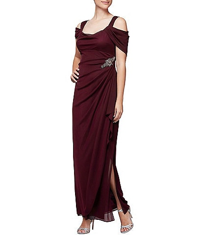Alex Evenings Cowl Neck Cold Shoulder Long Gown