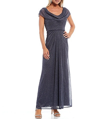 Alex Evenings Scoop Cowl Neck Cap Sleeve Pleated A-Line Glitter Mesh Long Dress